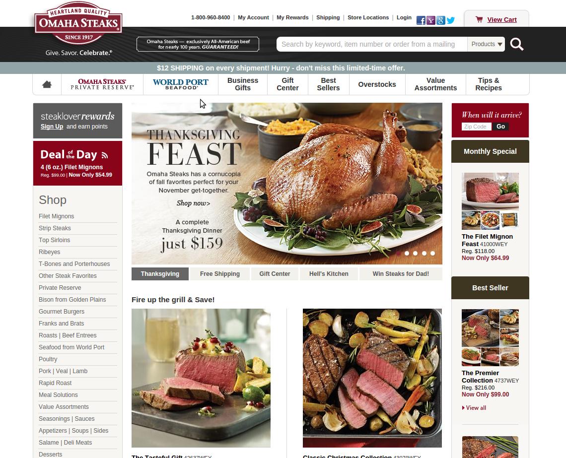 OmahaSteaks.com screenshot