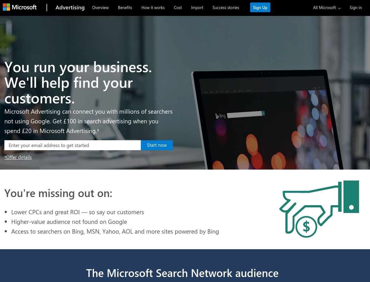 Microsoft Advertising Bing Ads Uk Affiliate Programme screenshot